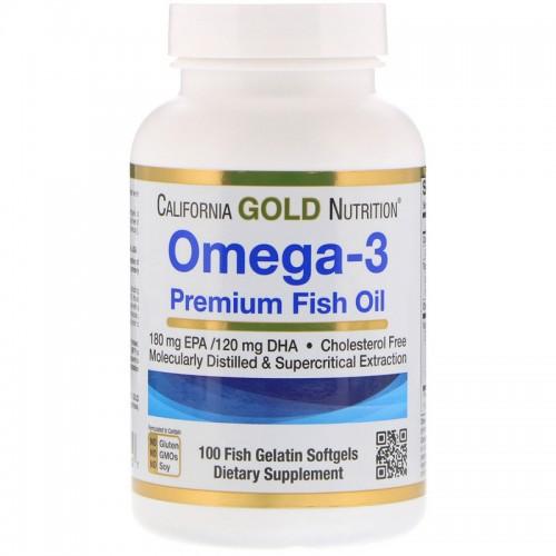 California Gold Nutrition Omega-3 Premium Fish Oil, Омега-3, рыбий жир высшего качества, 100 желатиновых капсул с рыбьим жиром